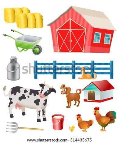 vector farm items and animals - stock vector