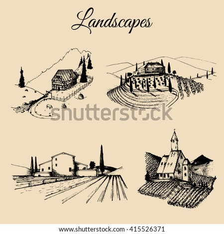 Vector farm landscapes illustrations set. Hand drawn countryside. Sketches of farmlands in mountains and hills. Drawings of villa, abbey, homestead, farmhouse