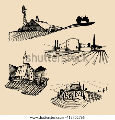 Vector farm landscapes illustrations set. Hand drawn countryside. Sketches of farmlands in mountains and hills. Drawings of villa, abbey, homestead, farmhouse  - stock vector