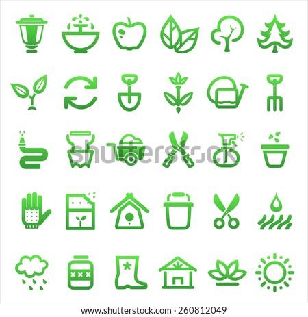 vector farming and garden icon set - stock vector