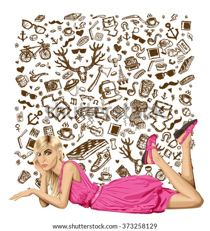 Vector fashion blonde in pink dress lies on a floor - stock vector