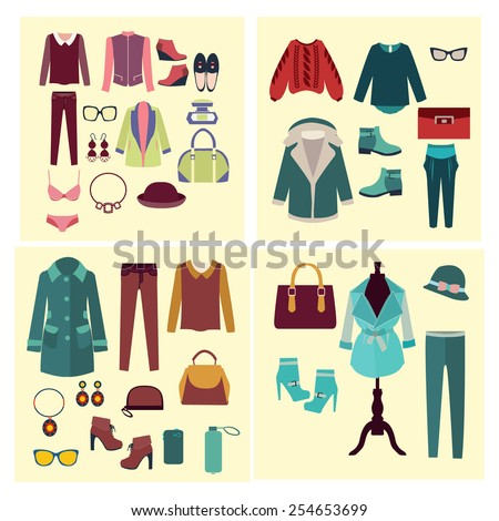 Vector fashion clothes and accessories for women for design fashion look - Illustration - stock vector