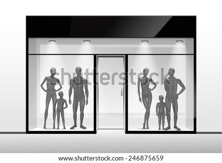 Vector Fashion Clothing Shop Boutique Store Front with Big Window and Mannequins - stock vector