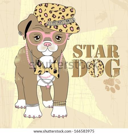 Vector fashion dog - stock vector