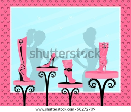Vector fashion footwear sales in the window of shop - stock vector