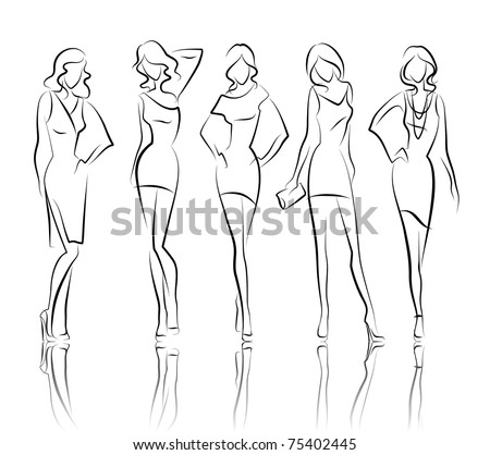 Vector fashion girls - stock vector