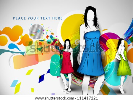 Vector fashion girls in sketch-style with abstract background. - stock vector
