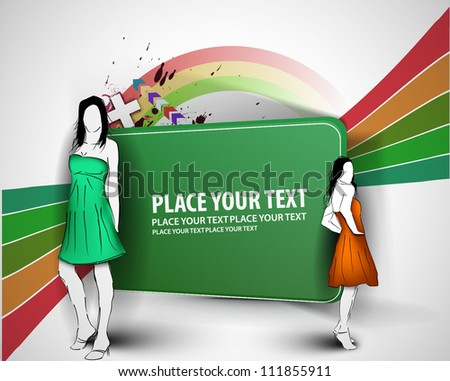 Vector fashion girls in sketch-style with abstract background.