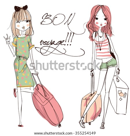 Vector fashion girls with suitcases - stock vector