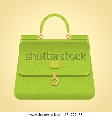 Vector fashion handbag. illustration of a green purse on a beige background. Elegant woman bag for business lady. As sign, symbol, icon, web, label, emblem.