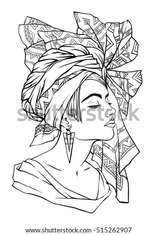 Vector Fashion Illustration Beautiful Young Woman Stock