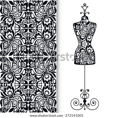 Vector fashion illustration, hand drawn seamless lace geometric pattern. Vector vintage tailor's dummy for female body, isolated elements for invitation card design. Black and white - stock vector