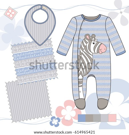 vector fashion illustration of baby boys outfit with zebra two repeat patterns saved in