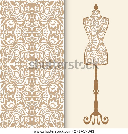 Vector fashion illustration, seamless geometric pattern, repeating fabric texture with tribal ethnic ornament. Vintage tailor's dummy for female body, isolated elements for invitation card design.  - stock vector