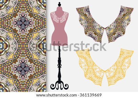Vector fashion illustration. Vintage lace collars collection, tailor's dummy and seamless floral geometric pattern. Hand drawn isolated elements for scrapbook, invitations or cards design. - stock vector