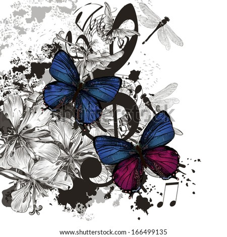 Vector  fashion illustration with butterfly for design - stock vector