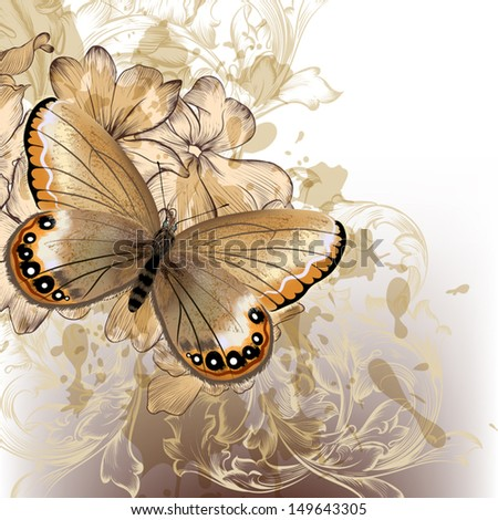 Vector  fashion illustration with detailed butterfly for design - stock vector