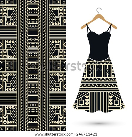 Vector fashion illustration, women's black dress on a hanger, hand drawn seamless geometric pattern, isolated elements for invitation card design - stock vector