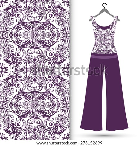 Vector fashion illustration, women's blouse and trousers on a hanger, seamless arabic ornamental background, lace pattern, isolated elements for scrapbook, invitation or greeting card design - stock vector