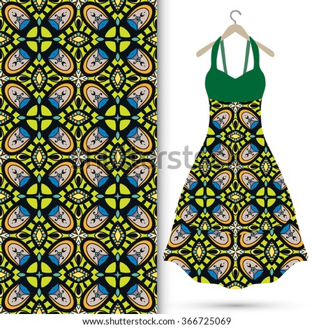 Vector fashion illustration. Women's dress on a hanger and seamless fabric pattern with repeating floral geometric texture. Hand drawn isolated elements for scrapbook, invitations or cards design. - stock vector