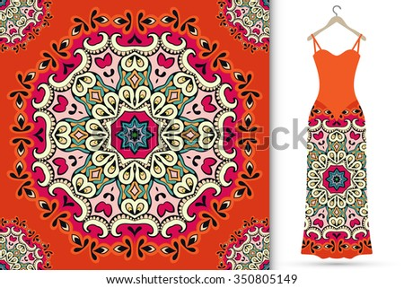 Vector fashion illustration. Women's dress on a hanger and seamless floral geometric pattern with Mandala round ornament. Hand drawn tribal ethnic motif, vector illustration - stock vector