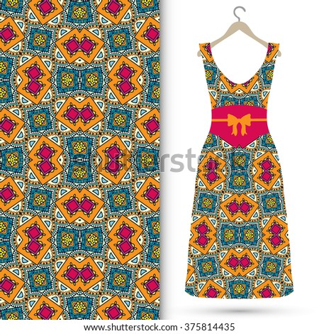 Vector fashion illustration. Women's dress on a hanger and seamless floral geometric pattern with hand drawn repeating texture. Isolated element for fabric print, scrapbook or invitation cards design. - stock vector