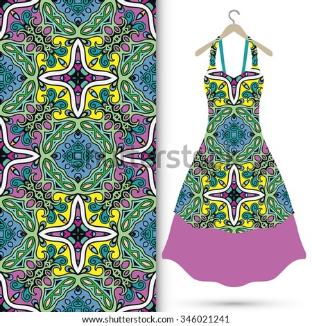 Vector fashion illustration. Women's dress on a hanger and seamless pattern with repeating fabric texture. Hand drawn isolated elements for scrapbook, invitations or cards design. - stock vector
