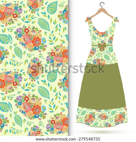 Vector fashion illustration, women's dress on a hanger, hand drawn seamless floral pattern, fabric repeating texture tribal ethnic ornament, elements for invitation or greeting card design. - stock vector