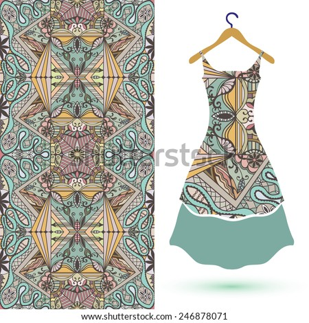 Vector fashion illustration, women's dress on a hanger, hand drawn seamless geometric pattern, isolated elements for invitation card design - stock vector