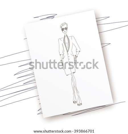 Vector fashion model. Vector sketch silhouette. Dress pencil sketch. Vector fashion outline. Vector style  lady. Vector fashion girl. Magazine cover. Vector design elements - stock vector