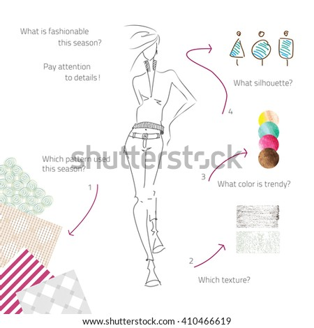 Vector fashion model. Vector sketch silhouette. Dress pencil sketch. Vector lady. Vector fashion gir. Vector design elements. Samples  of fabric, ornament, color, pattern. - stock vector