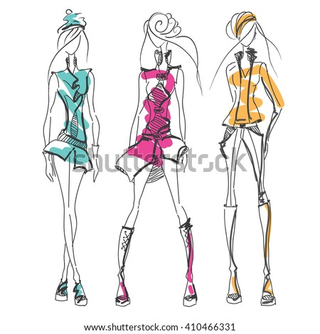 pencil sketches dress designs stock photos royaltyfree