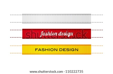 Vector fashion ribbon textured clothing labels with stitches, white red and yellow - stock vector