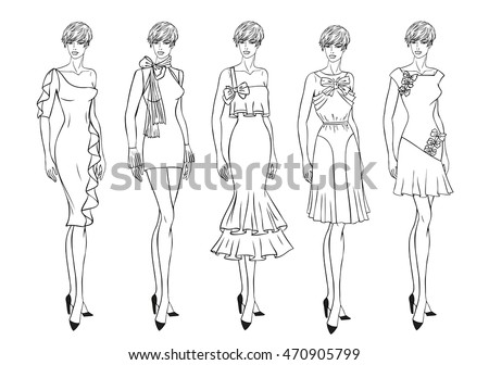 Vector fashion set of clothes for young girl. Fashion illustration. Five different garment in black and white. Coloring Page. Sketch