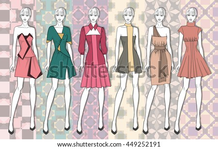 Vector fashion set of summer clothes for young girl. Fashion illustration. Six different clothes on seamless background.