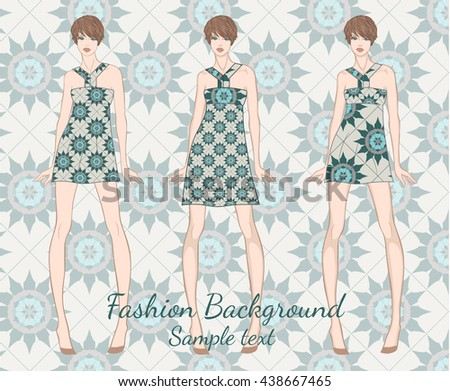 Vector fashion set of summer clothes template for visualization branding. Summer colorful sundresses for young girl on floral seamless background. Vector fashion illustration.