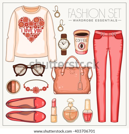 Vector fashion set of woman's clothes and accessories. Casual coral outfit with trousers and top  - stock vector