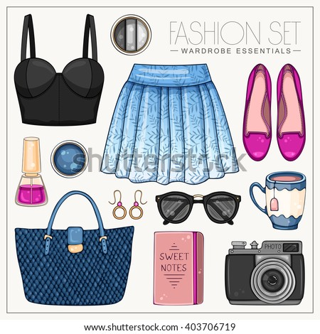Vector fashion set of woman's clothes and accessories. Casual outfit with skirt and bustiers top  - stock vector