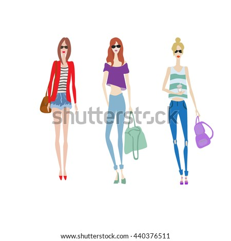 Vector fashion sketches set. Beautiful model in jeans and shirt with bag posing for photo camera. Skinny body silhouette. Haute couture fashion show. Sexy glamour lady in sunglasses. Girl on shopping - stock vector