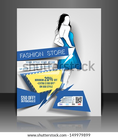 Vector Fashion store Flyer & Poster Cover  - stock vector