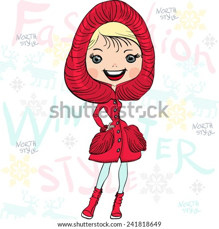 Vector fashionable hipster girl in a red fur coat, boots and hood in winter - stock vector
