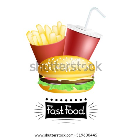Vector fast food banner with hamburger, french potatoes and drink isolated on white. EPS 10 illustration