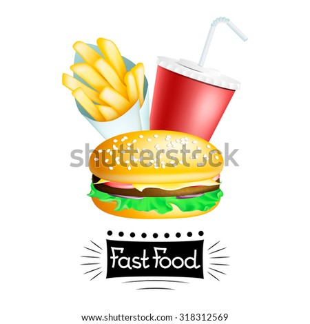 Vector fast food banner with hamburger, french potatoes in cone and drink isolated on white. EPS 10 illustration - stock vector