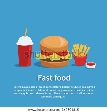 Vector fast food banner with text place. Fast food concept illustrtation.