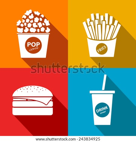 Vector fast food flat icon set. Eps10