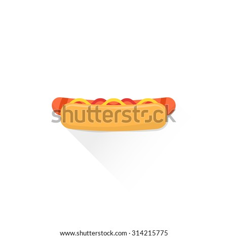 vector fast food hot dog with grilled sausage mustard tomato ketchup flat design isolated illustration on white background with shadow - stock vector