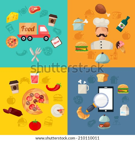 Vector Fast Food Pizza Delivery Icon Illustration - stock vector