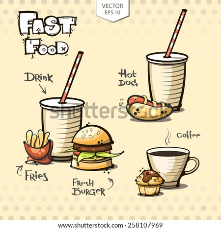 vector. fast food set. burger. drink. fries. hot dog. coffee. cake - stock vector