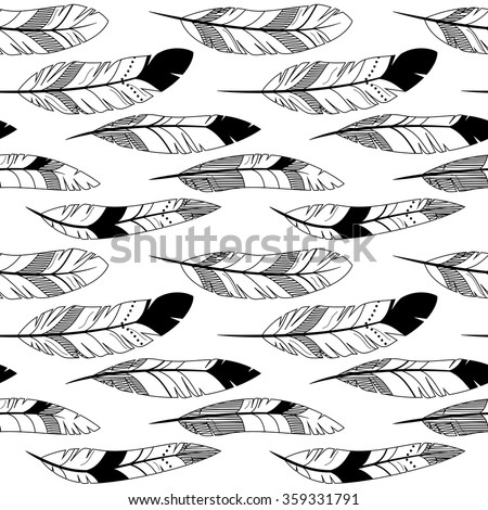 Vector Feather and Arrow Background Pattern - Seamless and Tileable - stock vector