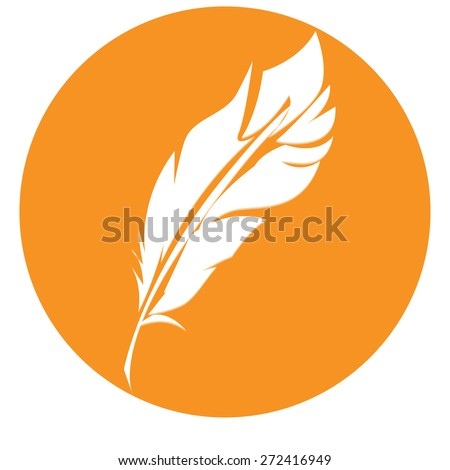 Vector feather  isolated on orange round, design elements - stock vector